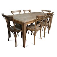 Barossa Wood Dining Set w/ 6 Cross Back Chairs 1.8m