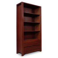 Lumino Jarrah Wood 2 Drawer Bookcase Standing Shelf