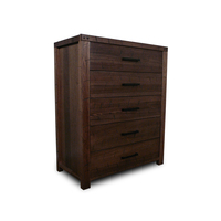 Stone Rustic Oak Wooden Tallboy Chest of Drawers