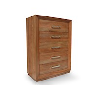 Rose Gum Wooden Tallboy Chest of Drawers in Caramel