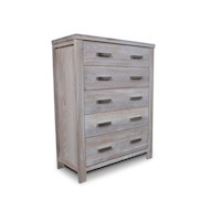 Avalon Whitewash Ash Tallboy Chest of 5 Drawers