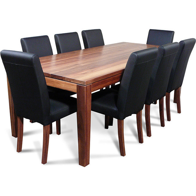 Blackwood Dining Table Set W 8 Chairs Black 2 2m Buy 9