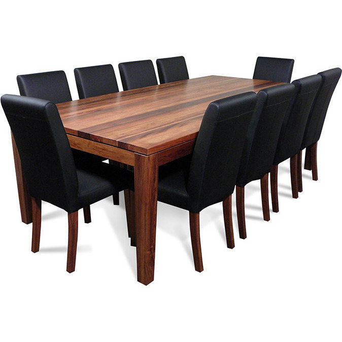 Dining Table Set For 10: Blackwood Dining Table Set W/ 10 Chairs Black 2.4m
