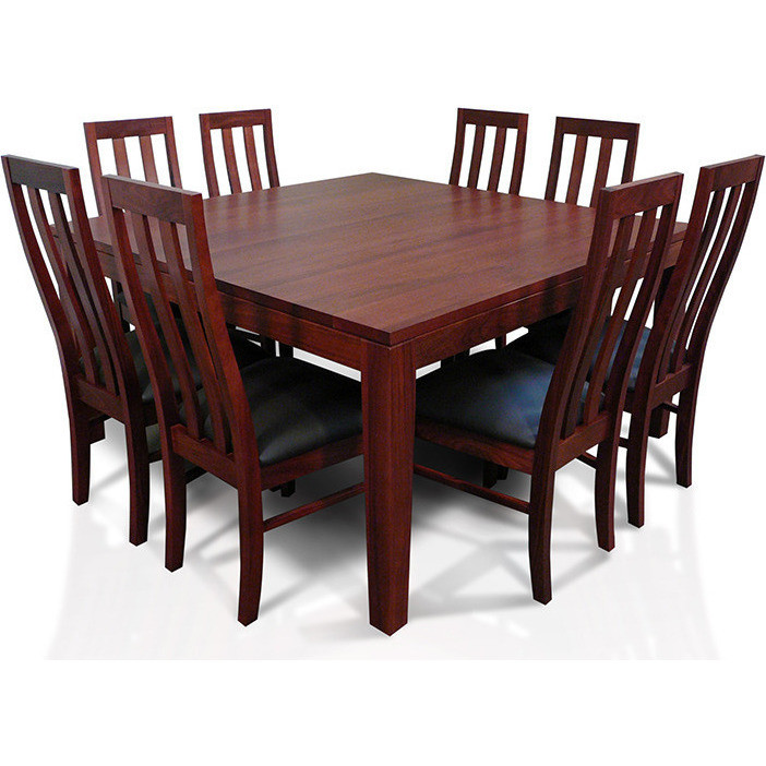 Wooden Dining Table Set: Square Wooden Dining Table Set W/ 8 Chairs 1.5m