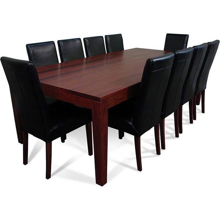 Dining Table Set For 10: Jarrah Dining Table Set W/ 10 Chairs Black 2.4m