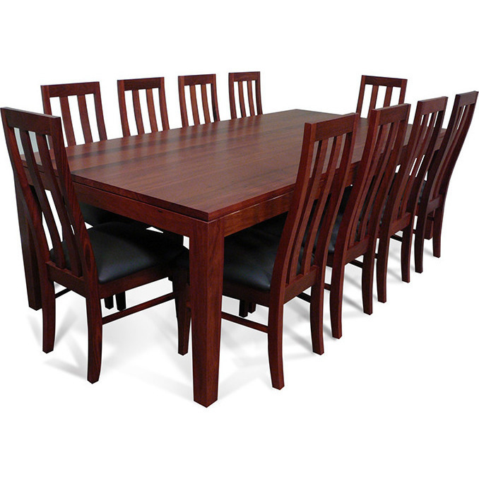 Dining Table Set For 10: Hamilton Wooden Dining Table Set W/ 10 Chairs 2.4m