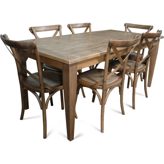 Charming Barossa Wood Dining Set W 6 Cross Back Chairs Buy