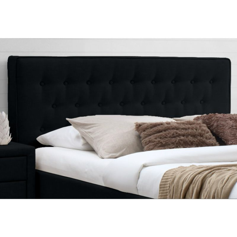Capri Double Fabric Upholstered Bed Head In Black Buy