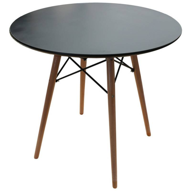 Replica eames dsw round dining table in black 80cm buy for Table eames dsw