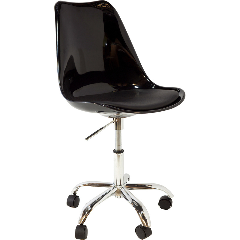 Replica saarinen tulip plastic chair w wheels black buy boardroom chairs - Replica tulip chair ...