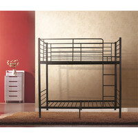 City Kid's King Single Size Metal Bunk Bed in Black