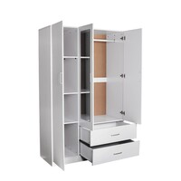 Modern 3 Door 2 Drawer Wardrobe with Mirror White