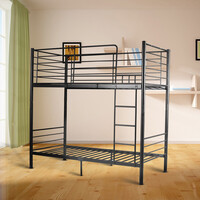 City Modern Metal Single Bunk Bed in Black