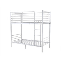 City Modern Metal Single Bunk Bed in White