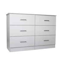 Contemporary Chest of 6 Drawers Lowboy in White