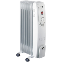 HEQS 7 Fin Adjustable Column Oil Heater White 1500W