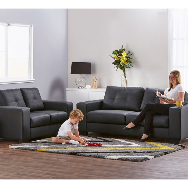 Priceworth 2 Seater Pu Leather Sofa Black Comfortable
