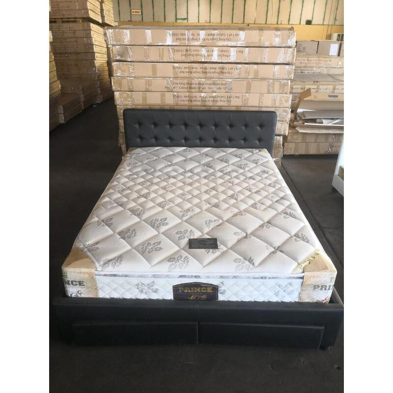 Priceworth Pu Leather Queen Bed With 4 Drawers Blackwhite Buy
