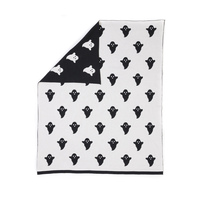 Woouf Ghost Cotton Blanket in Black and White 100cm