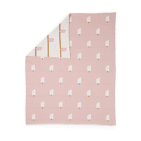 Woouf Ice Cream Cotton Blanket in Pink and White