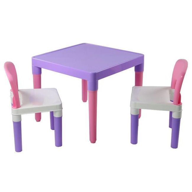 Kids Square Plastic Table Chairs Set Pink Purple Buy