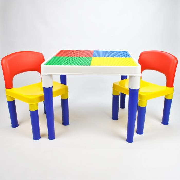 Kids Square Block Building Table With 4 Chairs Set Buy