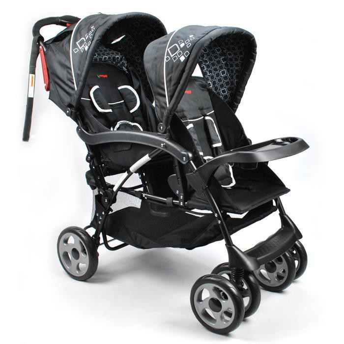 Deluxe Hi Rise Tandem Double Baby Pram In Black Buy