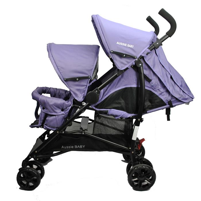 vitesse tandem double baby pram stroller in purple buy double prams. Black Bedroom Furniture Sets. Home Design Ideas