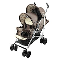 Vitesse Tandem Double Baby Pram Stroller in Brown