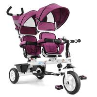 Kids 2 Seat Tandem Tricycle w/ Parent Handle Purple