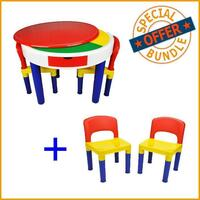 Kids Round Block Building Table with 4 Chairs Set