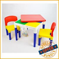 Kids Square Block Building Table with 4 Chairs Set
