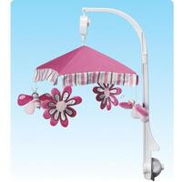 Butterflies and Flowers Musical Baby Mobile in Pink