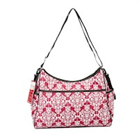 Bellotte Fabric Hobo Baby Nappy Bag in Red Ethnic