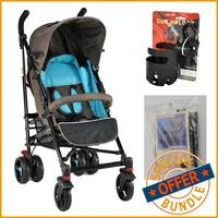 Baby Flexi Layback Buggy w Accessories Blue & Brown