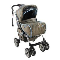Aussie Baby Newborn Reverse Handle Pram Blue Brown