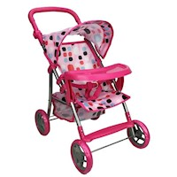 Children's Pretend Doll Pram & Tray in Pink w Dots