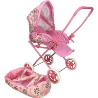 Children's Retro Style Pretend Doll Pram w Cot Pink