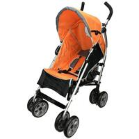 Aussie Baby Travel Easy Layback Pram Orange & Black