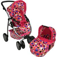 Girls Pretend Play Deluxe Doll Pram w/ Cot in Pink