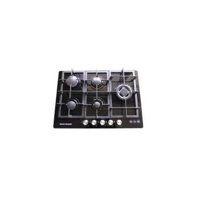 5 Burner Natural Gas Glass Cook Top in Black 75cm