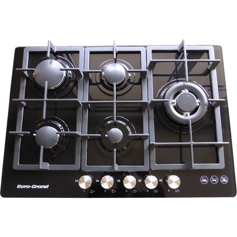 5 Burner Gas Cooktops: 5 Burner Natural Gas Glass Cook Top In Black 75cm