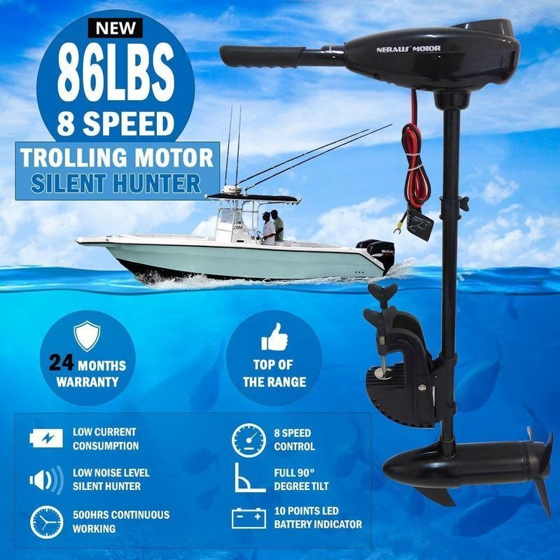 Quiet electric outboard trolling motor engine 86lb buy for Buy boat motors online