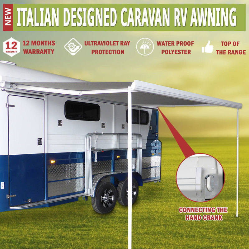 Hand Roll Out Caravan RV Window Awning 3.5x2.5m
