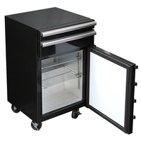 Wheeled Mini Bar Fridge & Toolbox in Black 50L