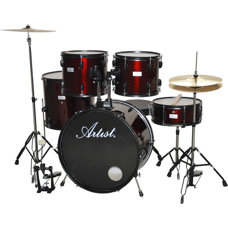 artist 5 piece drum kit cymbals with stool red buy acoustic drum sets. Black Bedroom Furniture Sets. Home Design Ideas