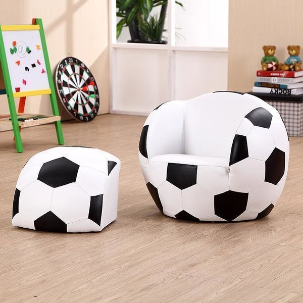 Kids Faux Leather Soccer Ball Chair With Footstool