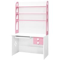 Kids Love Heart Computer Desk w/ Shelves Pink White