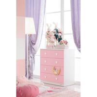 Love Heart Chest of 4 Drawers Tallboy Pink & White