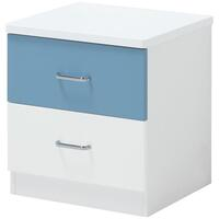 Blue Lover Kids Bedside Table Nightstand w 2 Drawer